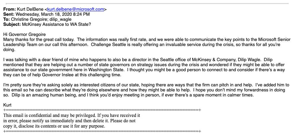 email from Kurt DelBene of Microsoft to Governor Christine Gregoire